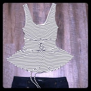 Express sleeveless lace up top size small